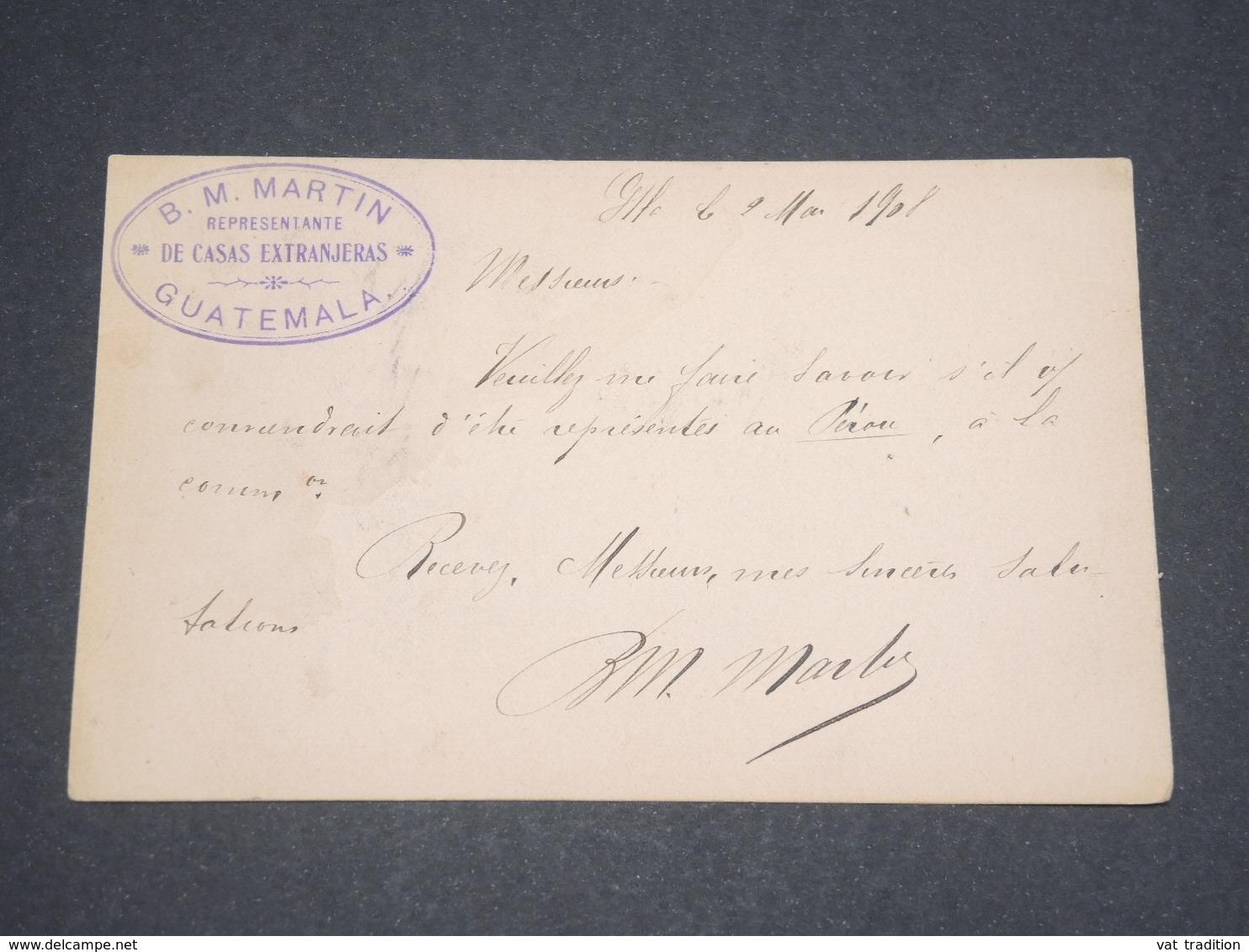GUATEMALA - Entier Postal Pour Paris En 1908 - L 12710 - Guatemala