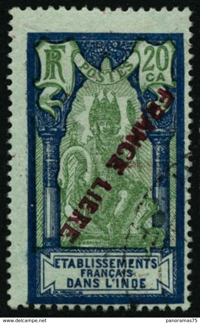 Oblit. N°140a 20ca Bleu Et Vert/azuré Surcharge Renversé - TB - Inde (1892-1954)