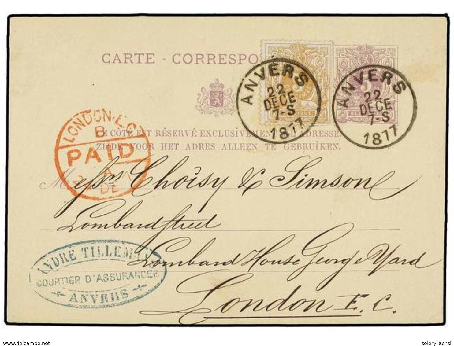 125 BELGICA. Of.28. 1877. ANVERS To LONDON. <B>5 Cts. </B>lilac Postal Stationery Card Uprated With <B>5 Cts.</B> Ocre S - Stamps
