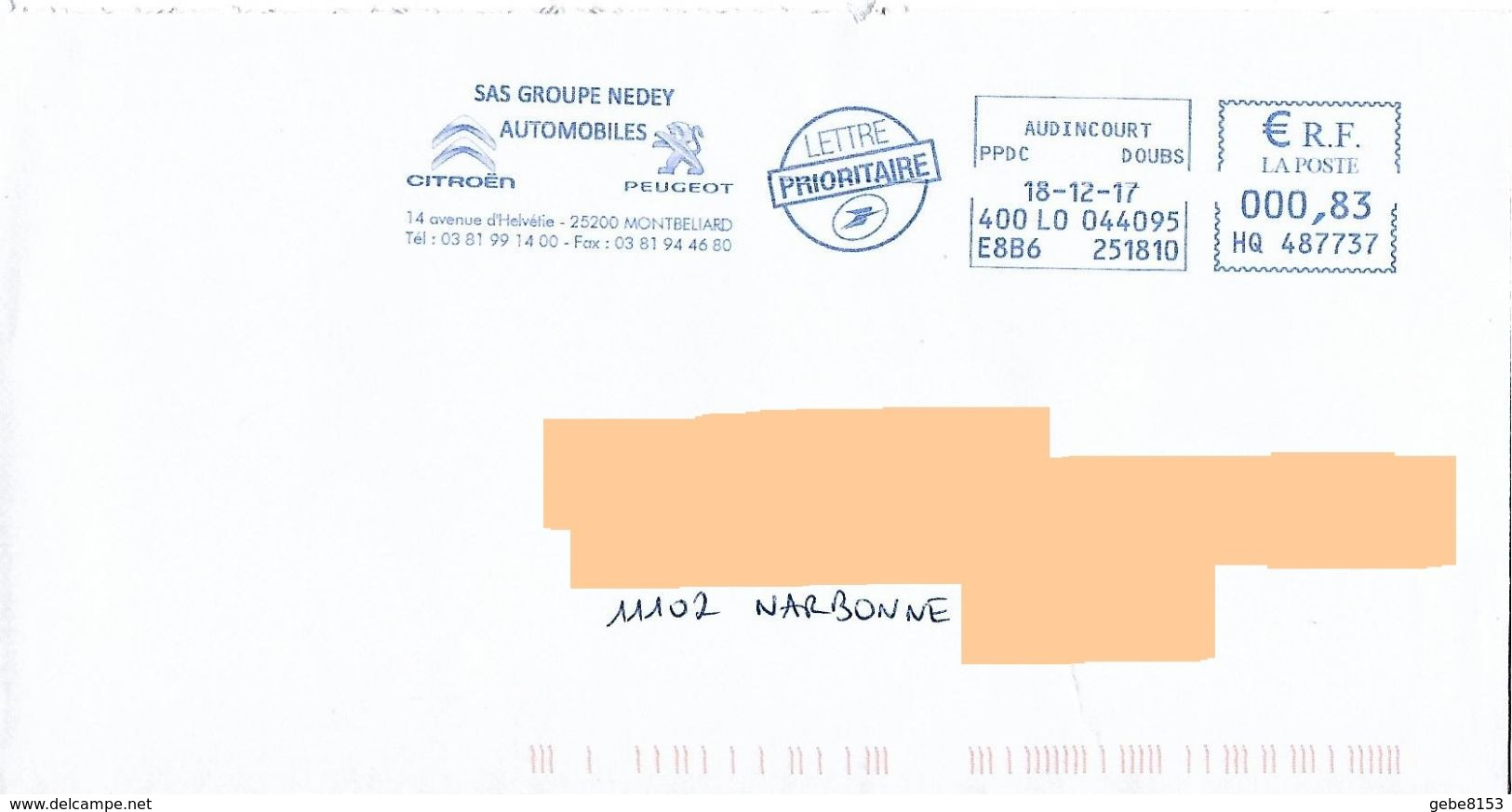 EMA HQ 487737 Doubs + Flamme Citroen Peugeot Montbeliard Lion Lowe - Roofkatten