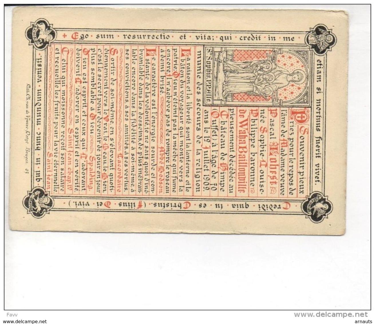 D. Pascal Lohest Née Sophie De Waha Baillonville+ Ouffet 12/7/1909,70ans Litho Vandevyvere Brugge Grisard De Vivario De - Obituary Notices