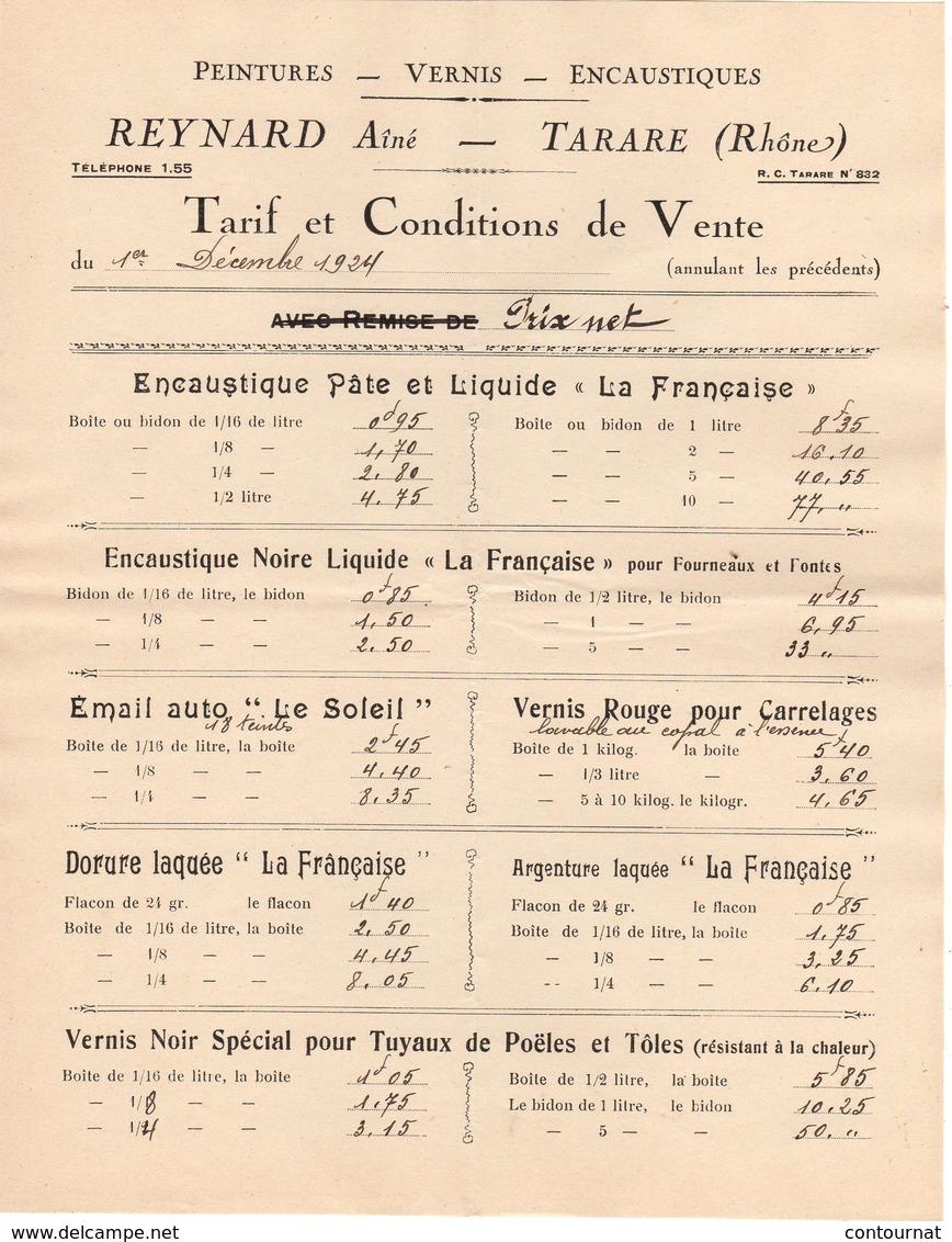 69 TARARE TARIF 1924 Peintures Vernis Encaustiques REYNARD Ainé   * Z45 - 1900 – 1949