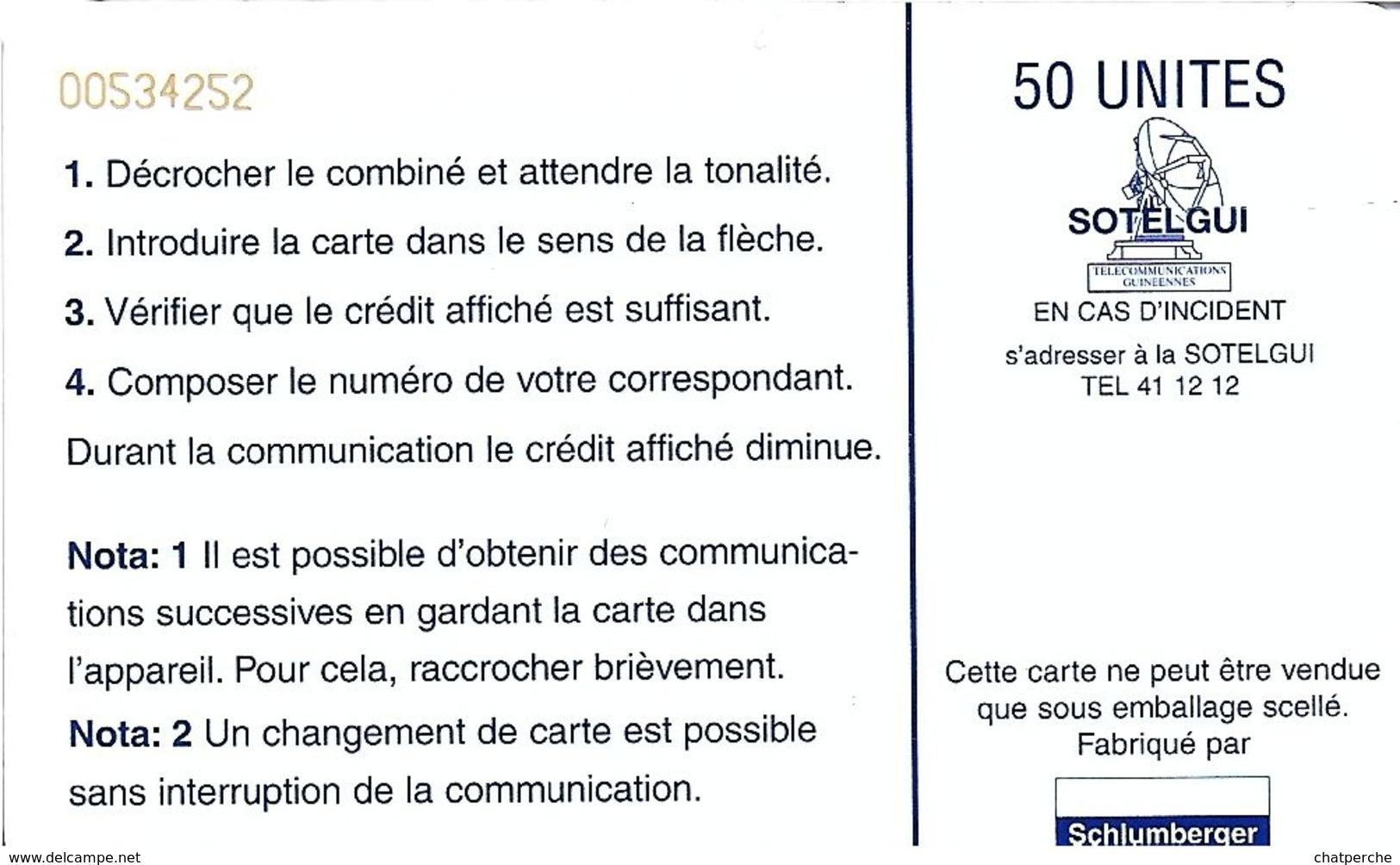 TÉLÉCARTE  PHONECARD TARJETA  GUINEE CASCADE - Guinée