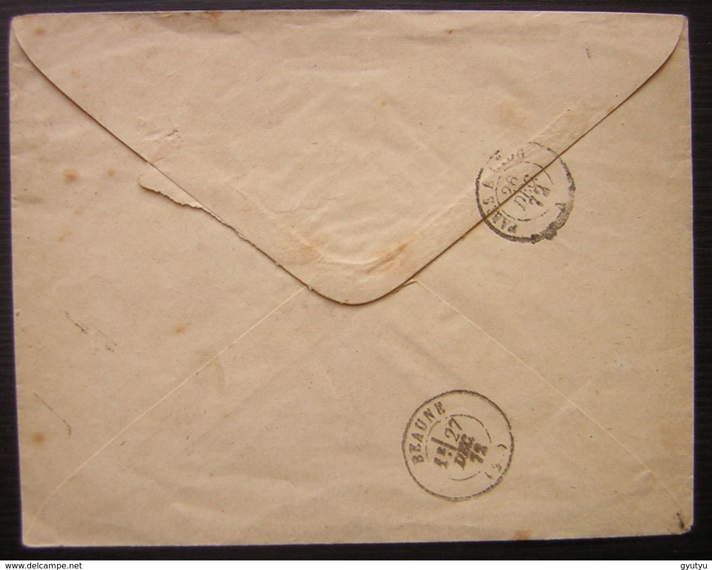 1872 Paris Gare Du Nord, Oblitération Etoile Lettre De F. Civet Pour Beaune - Postmark Collection (Covers)