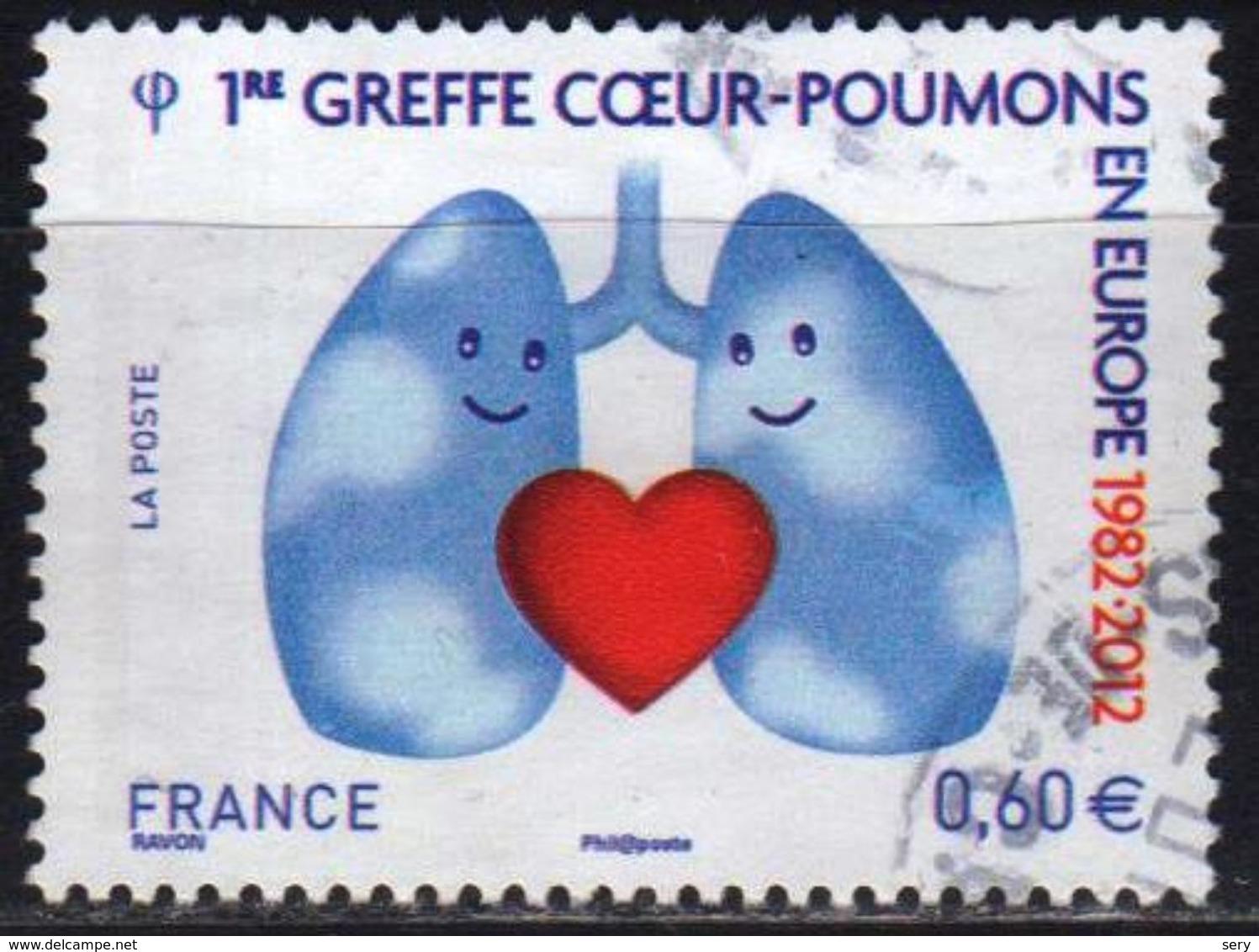 France 2012 1 V Used  1e Greffe Coeur-poumons En Europe - Medicina