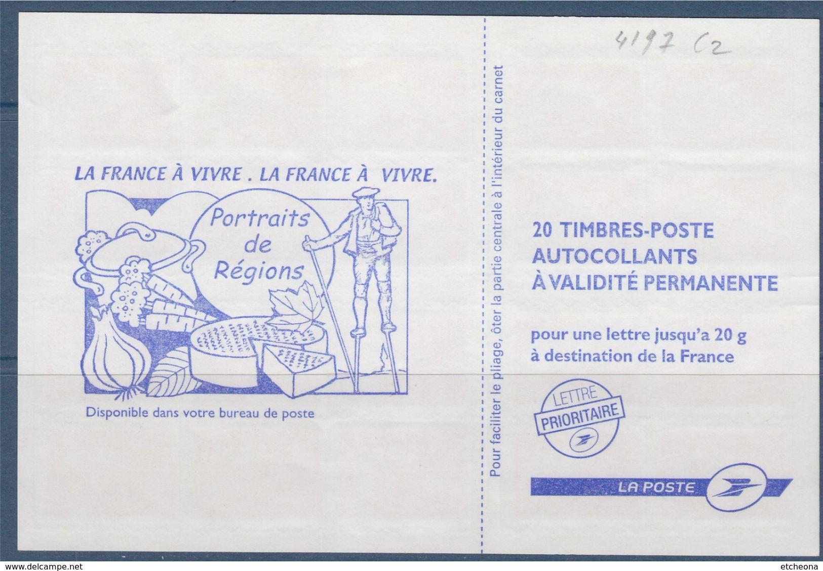 Type Marianne De L'Europe Dite De Beaujard, TVP. Carnet  X20, Autocollant, Rouge, N° 4197-C2 - Carnets
