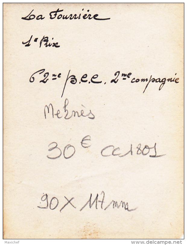 """Photographie 90 X 117 Mm - Char Pour La Mi-careme De Meknès """"La Fourrière"""" 1er Prix - 62ème B.C.C. 2eme Compagnie - Other"""