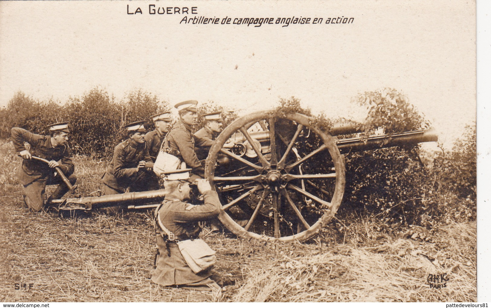 CPA-PHOTO Carte-Photo Artillerie De Campagne Anglaise En Action Canon ? Obusier ? Militaire Soldats Militaria - Matériel