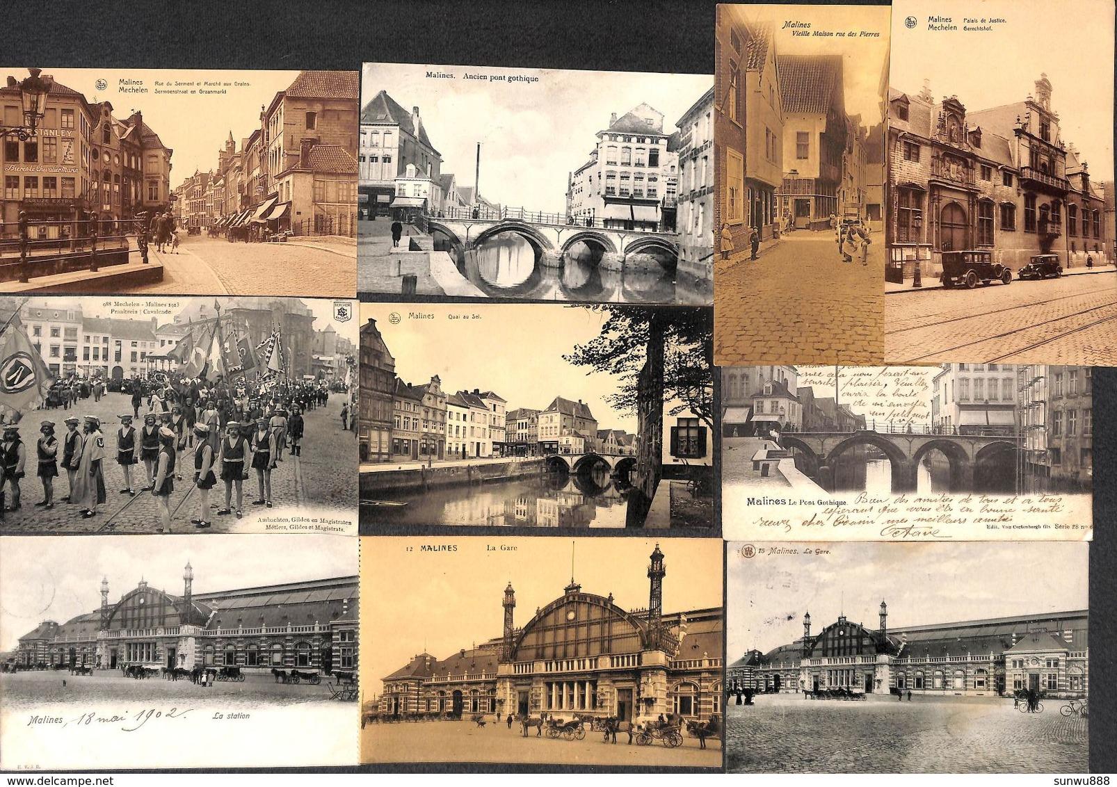 Malines Mechelen - Lot 12 Cartes PK's (animatie, Station, Van Cortenbergh,...) - Malines