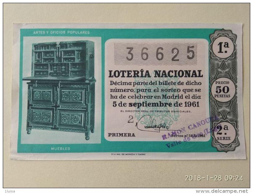 Lotteria Nazionale Spagnola  1961 - Spagna