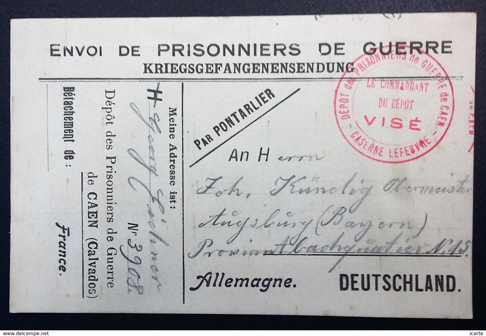 CP PRISONNIER DE GUERRE Allemand Dépôt De CAEN Octobre 1916 Franchise Militaire Des P.G. - Postmark Collection (Covers)