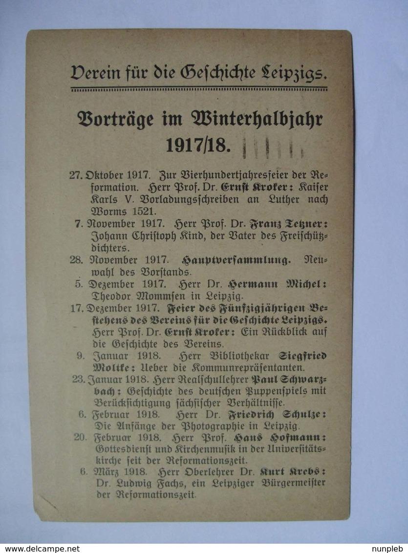 GERMANY - 1920 Leipzig - `Verein Fur Die Cefchichte Leipzig` - Briefe U. Dokumente