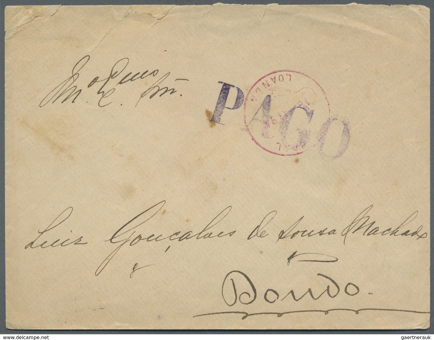 Br Angola: 1894 (16.5.), Stampless Domestic Cover With Red LOANDA Cds. And Large Violet Single-line 'PA - Angola