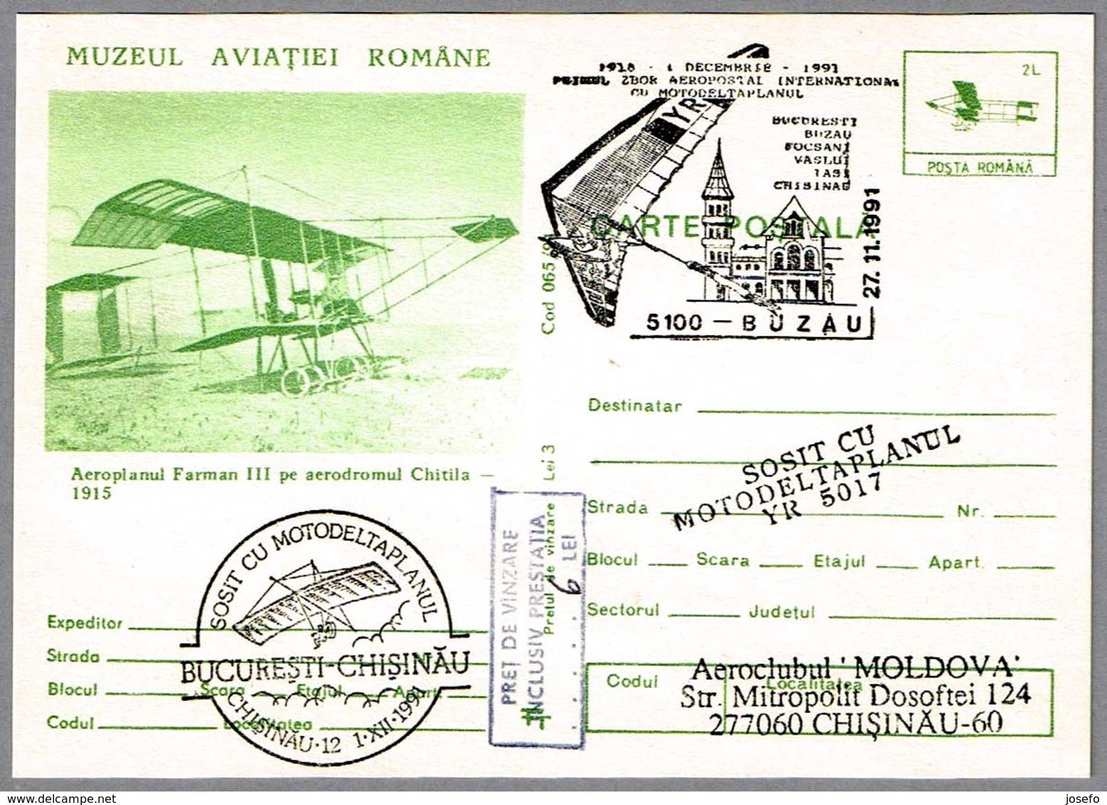 Primer Vuelo Aeropostal Internacional En ALA DELTA CON MOTOR - Ultra Light Trike. Buzau 1991 - Correo Postal