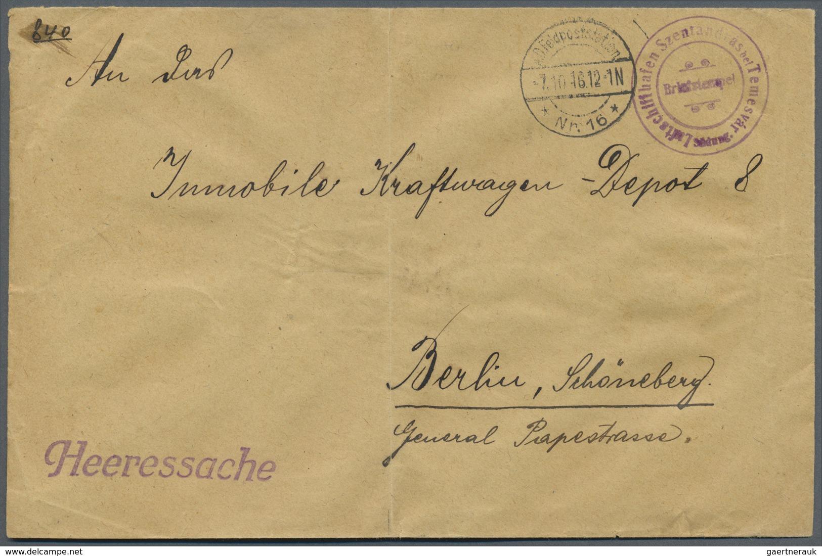 Br Zeppelinpost Deutschland: 1916, Rumänien, LUFTSCHIFF SZENTANDRAS Bei TEMESVAR SÜDUNG, Violetter Zier - Airmail