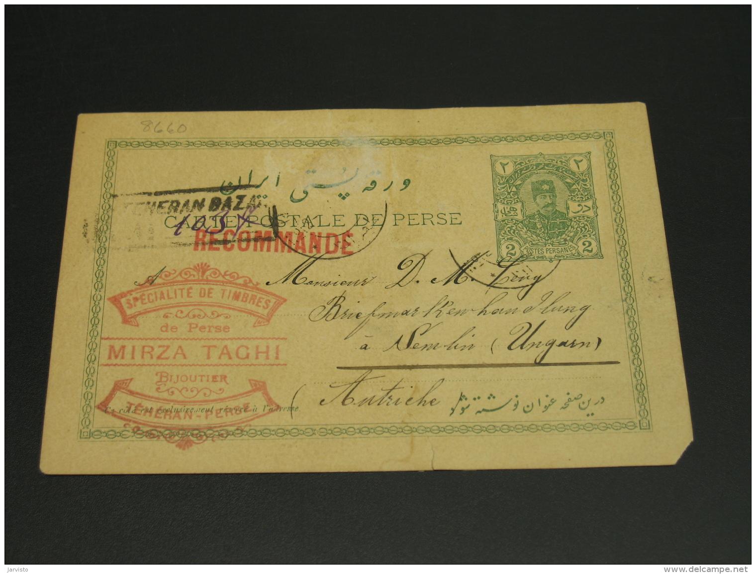 Iran 1913 Postal Card To Hungary Faulty *8660 - Iran