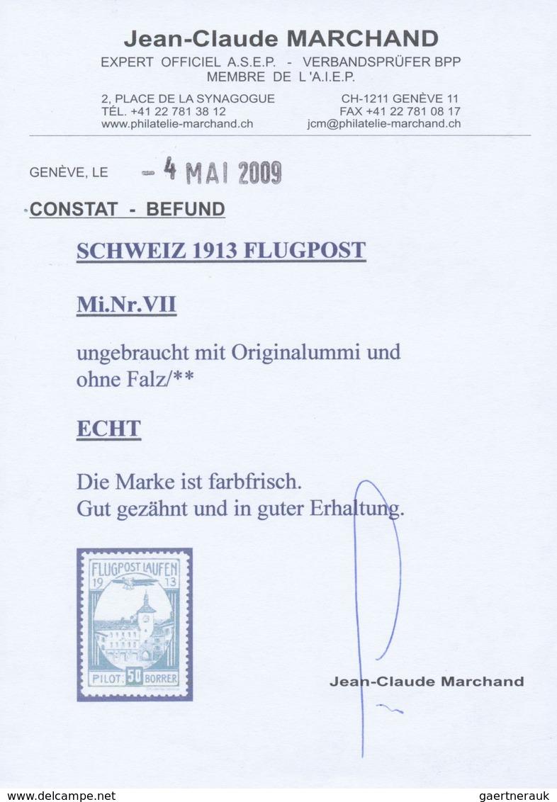 ** Schweiz - Halbamtliche Flugmarken: 1913: 50 C Laufen-Solothurn, Tadellos Postfrisch. Attest Marchand - Used Stamps
