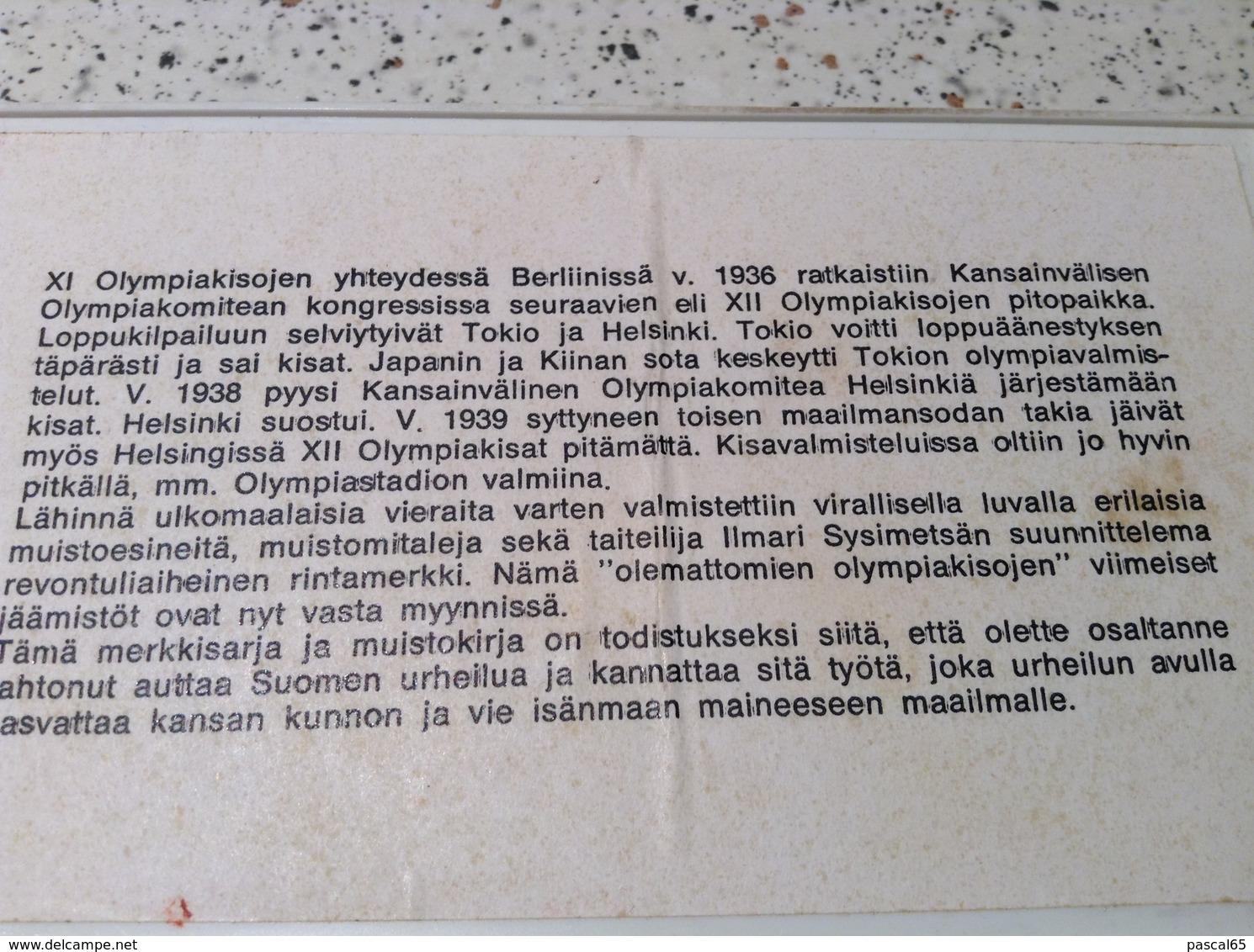 3 Badges Originaux 12 Jeux Olympiques Helsinki 1940 XII Olympic Games Finland - Bekleidung, Souvenirs Und Sonstige