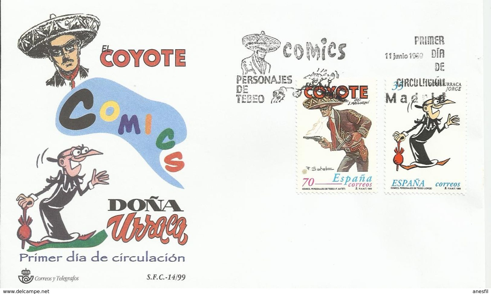 """España. 1999. Comics. """"Doña Urraca Y El Coyote"""" Y Real Club Recreativo De Huelva. - FDC"""