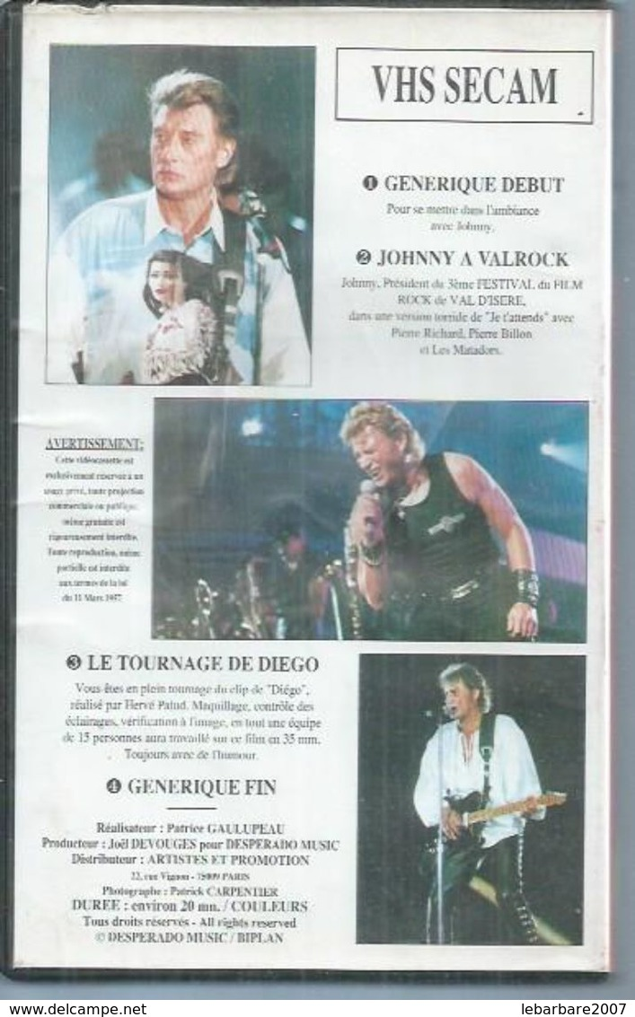 "K7 VIDEO  -  JOHNNY HALLYDAY   "" WESTERN PASSION "" - ( JOHNNY A VALROCK / LE TOURNAGE DE DIEGO ) - Concert Et Musique"