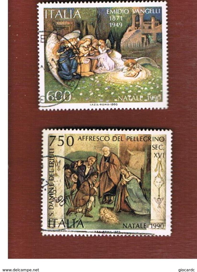 ITALIA REPUBBLICA  - SASS. 1945.1946    -      1990 NATALE   -      USATO - 6. 1946-.. República