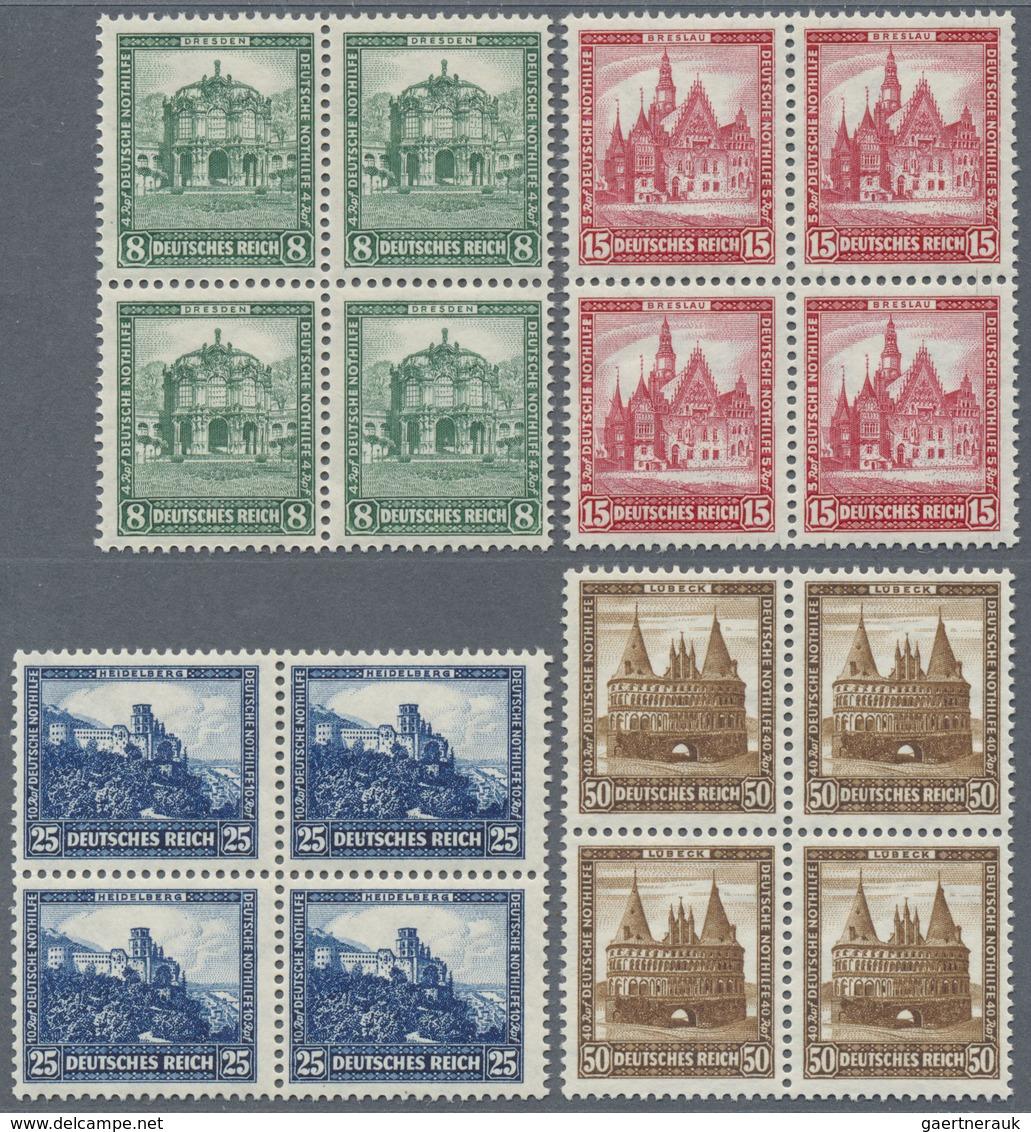 ** Deutsches Reich - Weimar: 1931, 8 - 50 Pfg. Taufrischer Luxussatz Bauwerke Je Im 4er-Block, Mi. 960. - Germany