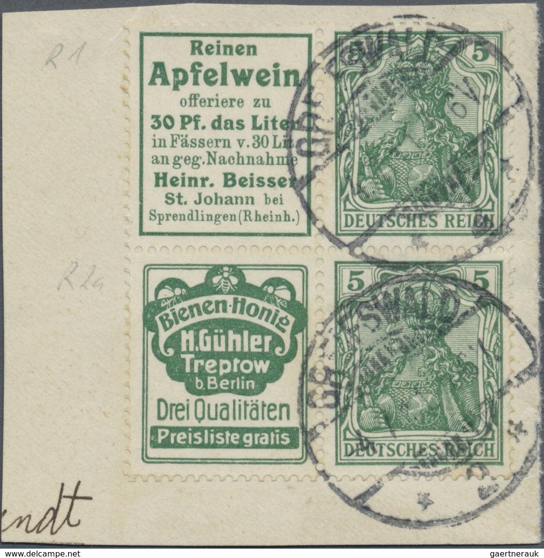 """O Deutsches Reich - Zusammendrucke: 1911, Reklame """"Reinen Apfelwein"""" + 5 Pfg. Germania Und Reklame """"Bi - Se-Tenant"""