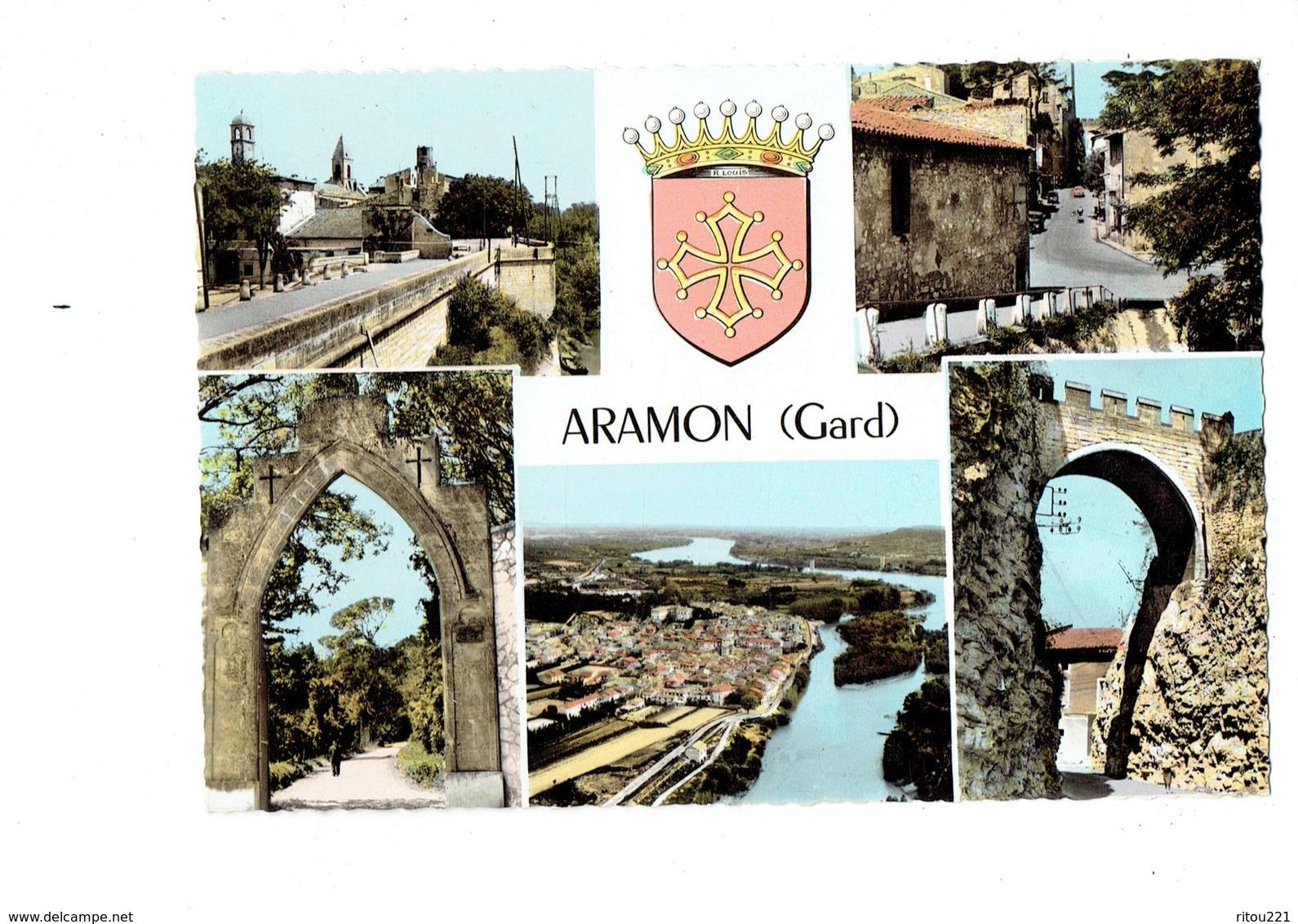 Cpa - 30 - Aramon - Multivues Blason - Aramon