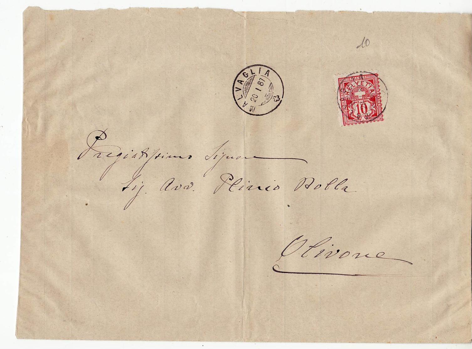 L1146 HELVETIA MALVAGLIA 1887 TO OLIVONA - 1882-1906 Stemmi, Helvetia Verticalmente & UPU