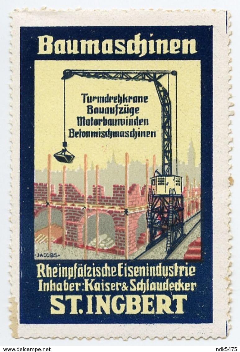 CINDERELLA : GERMANY - ST. INGBERT, BAUMASCHINEN - Cinderellas