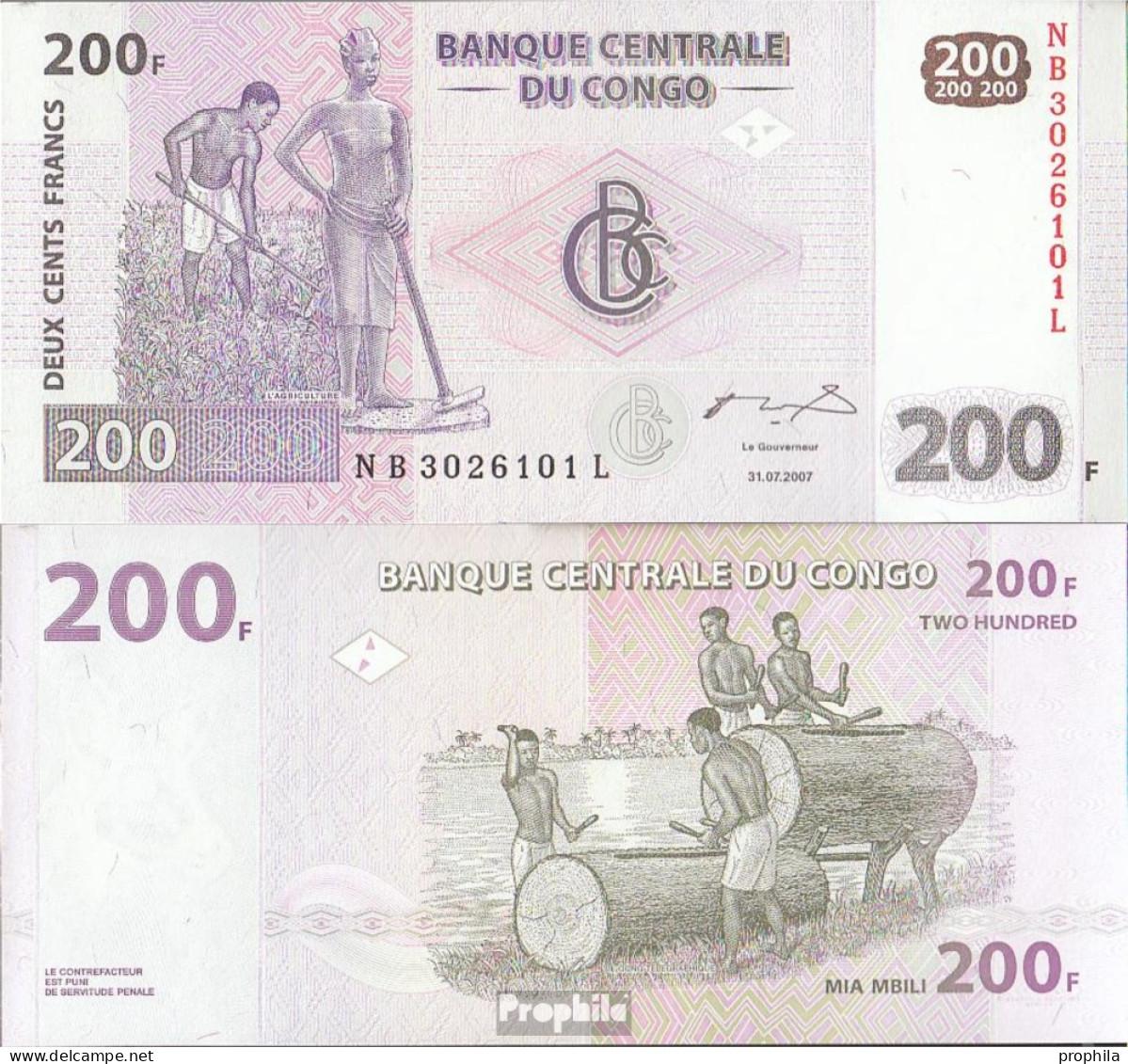 Kongo (Kinshasa) Pick-Nr: 99a Bankfrisch 2007 200 Francs - Zonder Classificatie