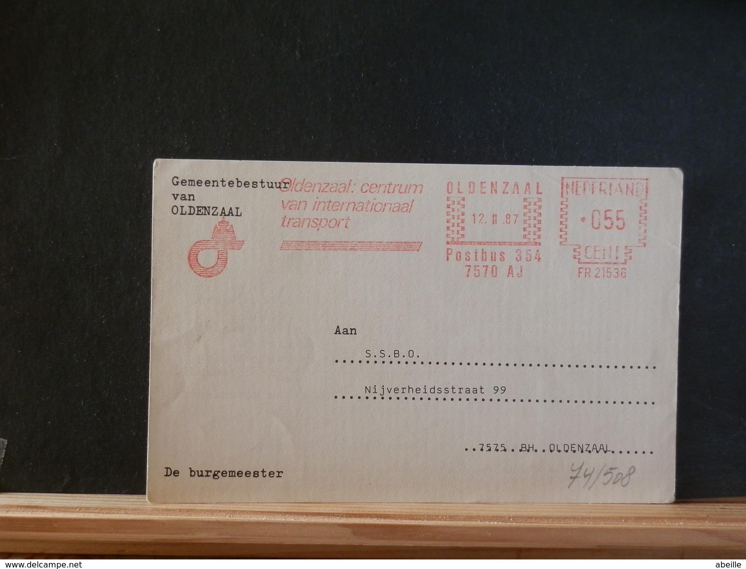 74/508   BRIEFKAART NEDERLAND  1987  RODE VLAGSTEMPEL - Period 1980-... (Beatrix)