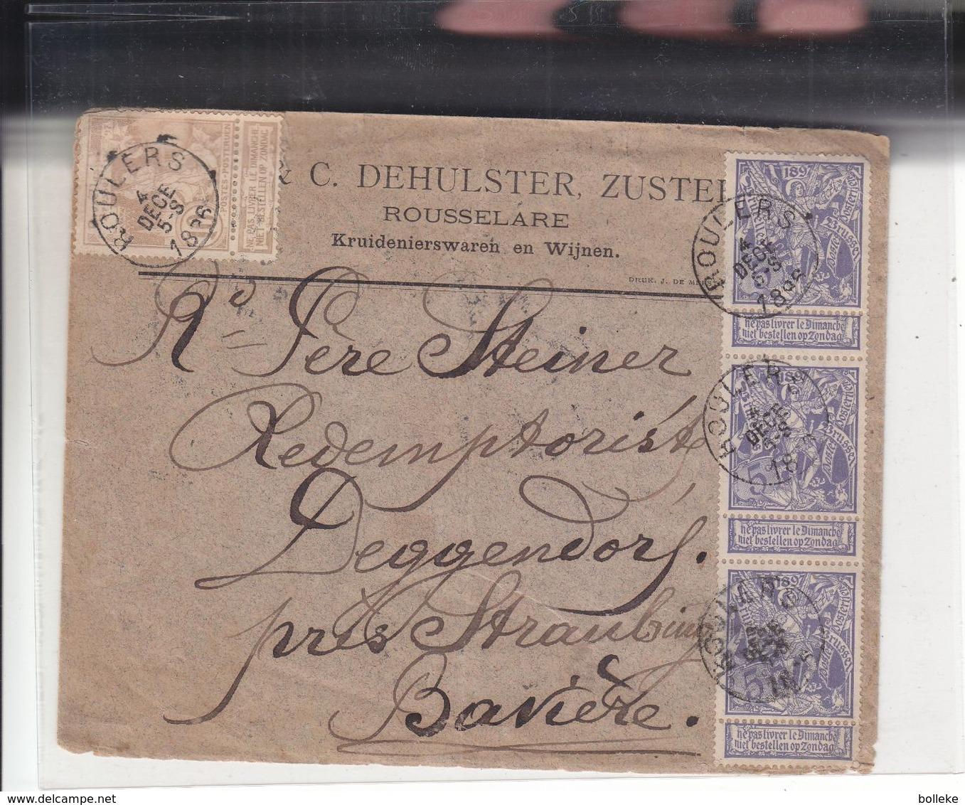 Belgique - Lettre De 1896 ° - Oblit Roulers - Exp Vers Deggendorf - Cachet De Deggendorf - Exposition - 1894-1896 Exhibitions