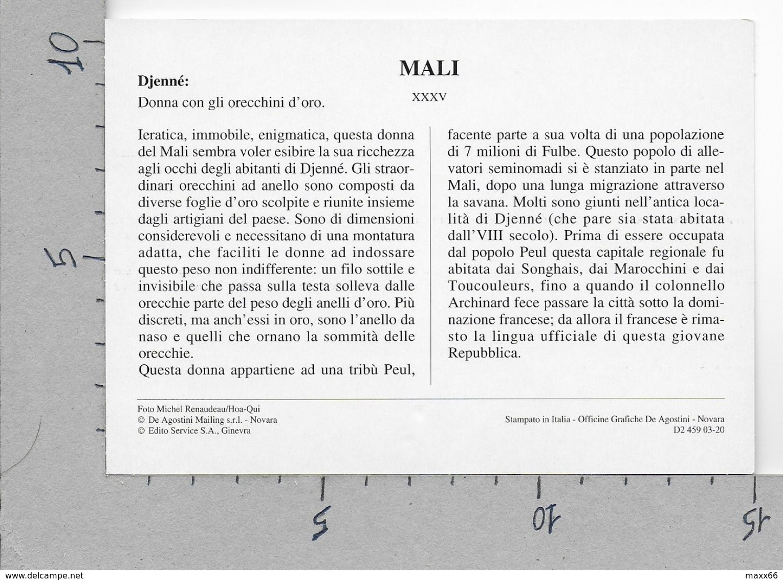 CARTOLINA NV DE AGOSTINI - MALI - Djenne - Donna Con Gli Orecchini D'oro - Vedute Dal Mondo - 10 X 15 - Mali