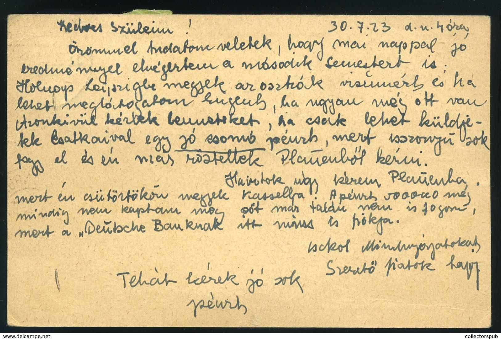 GERMANY 1923. Altenburg, Inflation Airmail Postcard To Szombathely , Hungary - Germany