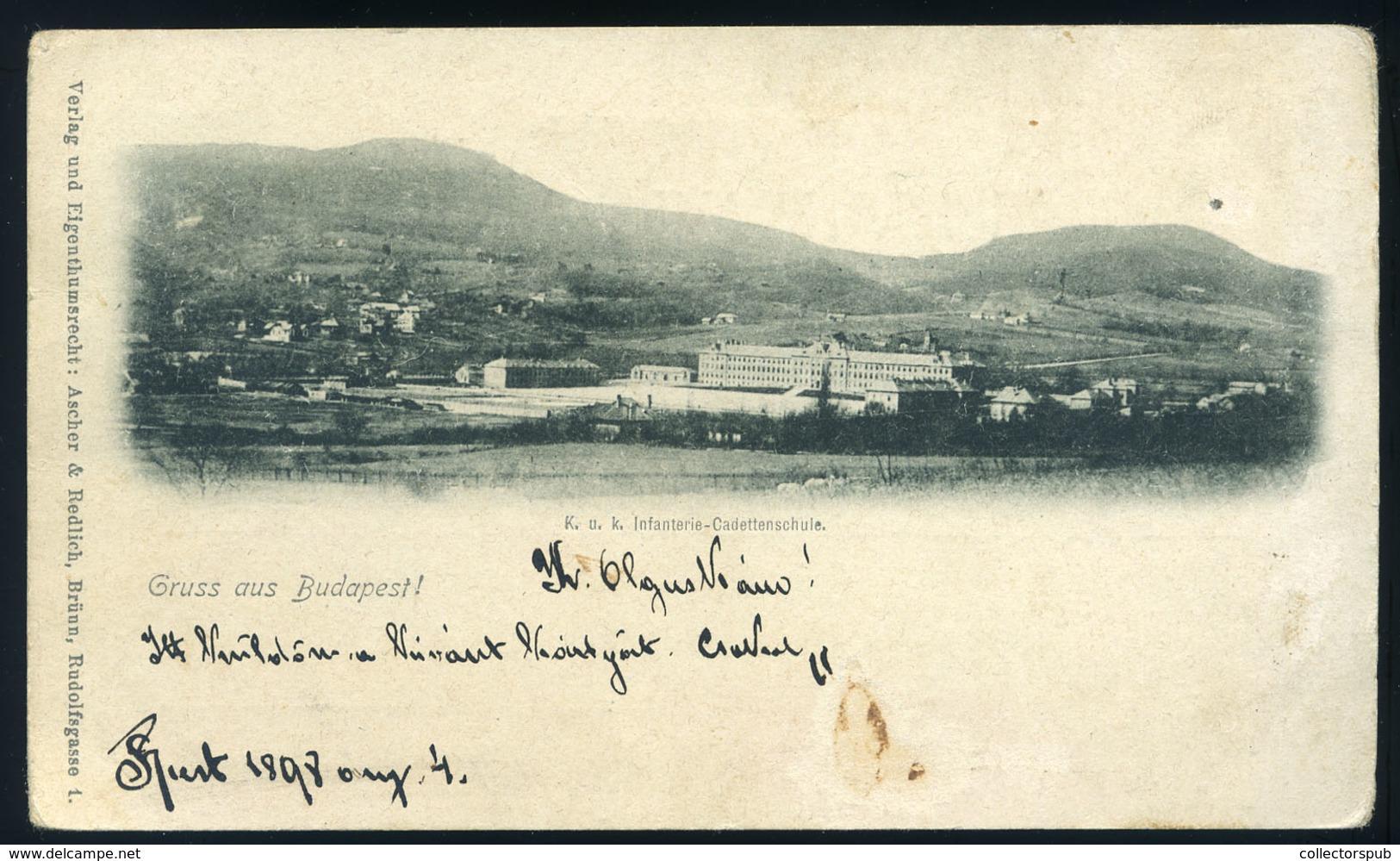 89824 BUDAPEST 1898. K.u.K. Kadet Iskola , Régi Képeslap  /  1898 K.u.K. Cadet School Vintage Picture Postcard - Hungary