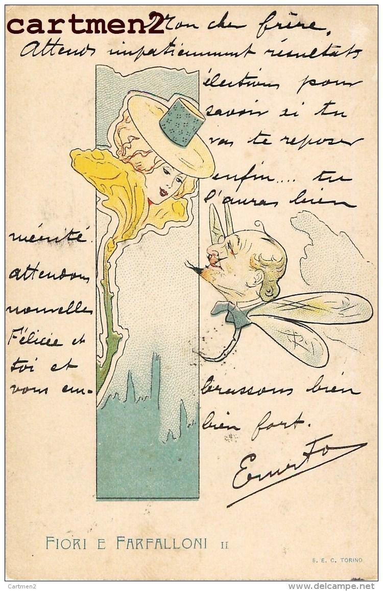 SERIE FIORI E FARFALLONI ART NOUVEAU ILLUSTRATEUR ITALIA SURREALISME TORINO 1900 - Illustratori & Fotografie