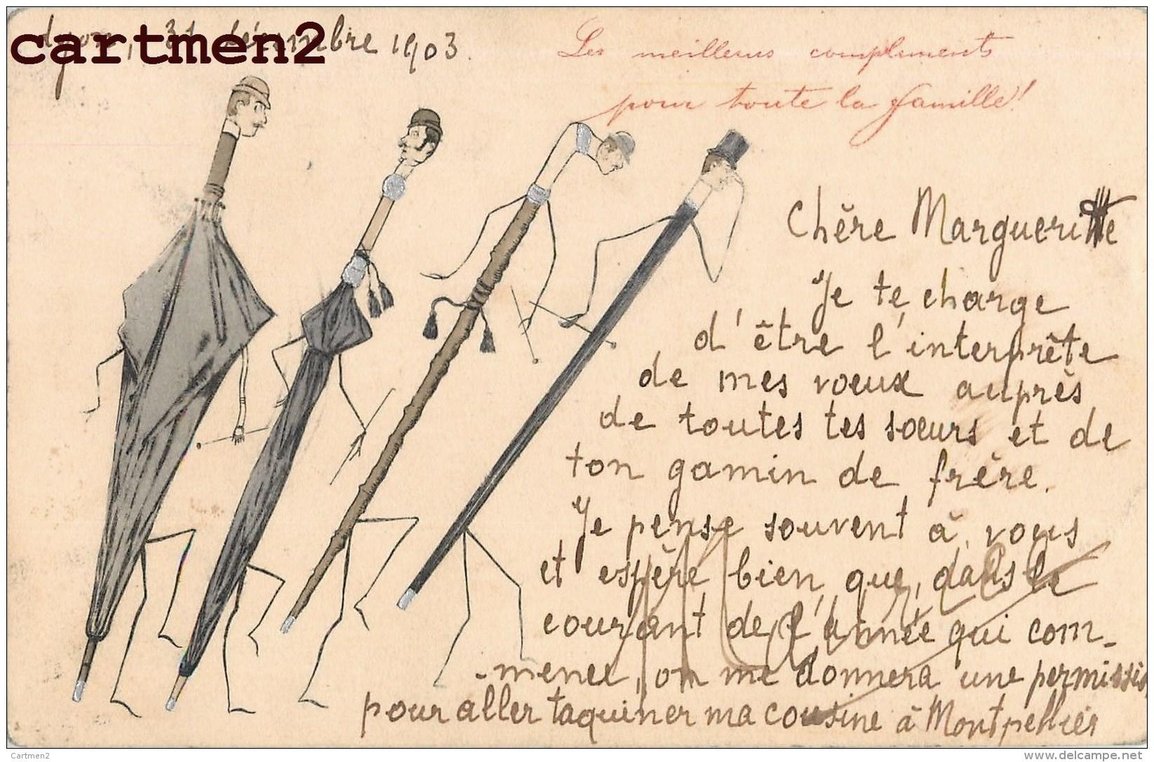 """BELLE CPA PEINTE A LA MAIN  : SURREALISME """" HOMME HUMANISE EN PARAPLUIE """" UMBRELLA CANNE HUMOUR ILLUSTRATEUR DESSIN - Illustrateurs & Photographes"""