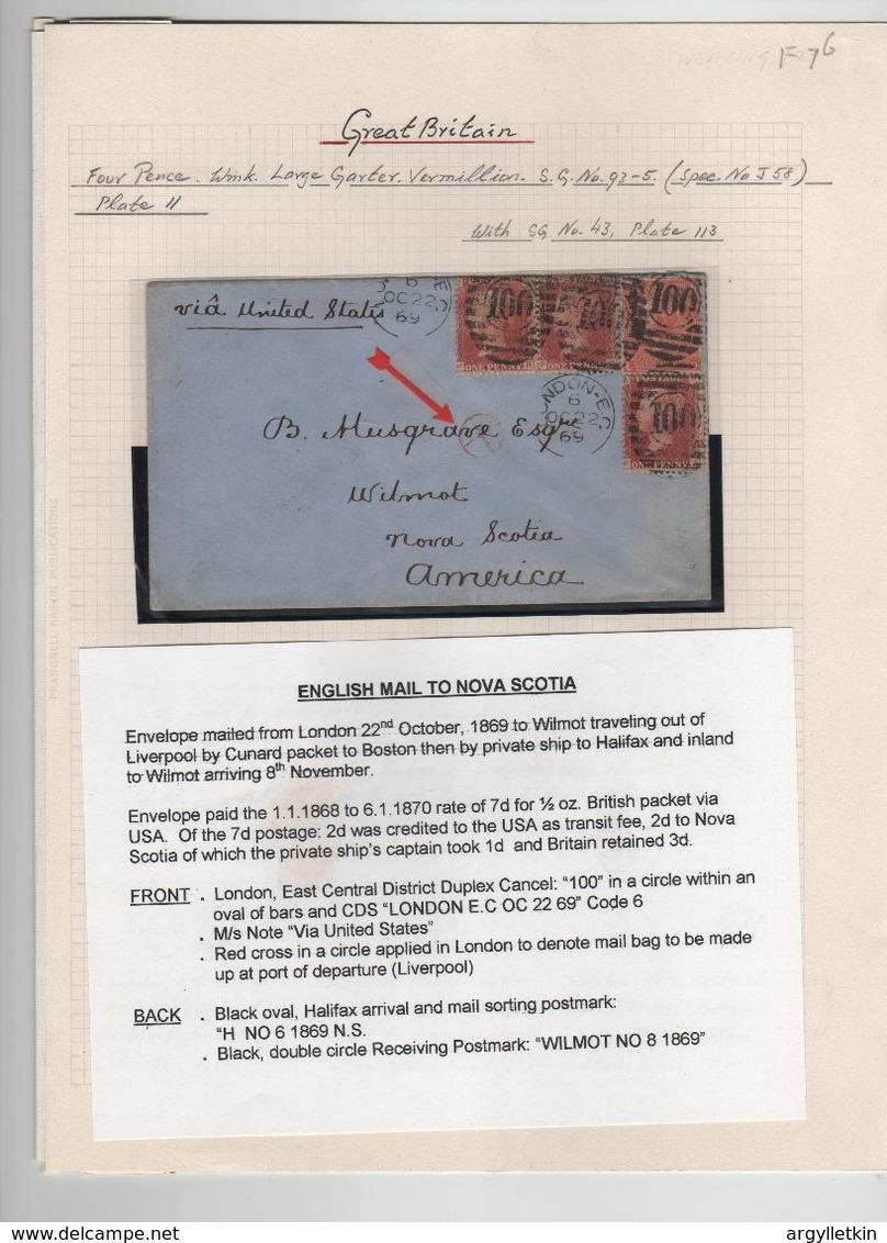 GREAT BRITAIN 1858/1869 NOVA SCOTIA TRANSATLANTIC CUNARD LIVERPOOL LONDON LEEDS - Stamped Stationery, Airletters & Aerogrammes