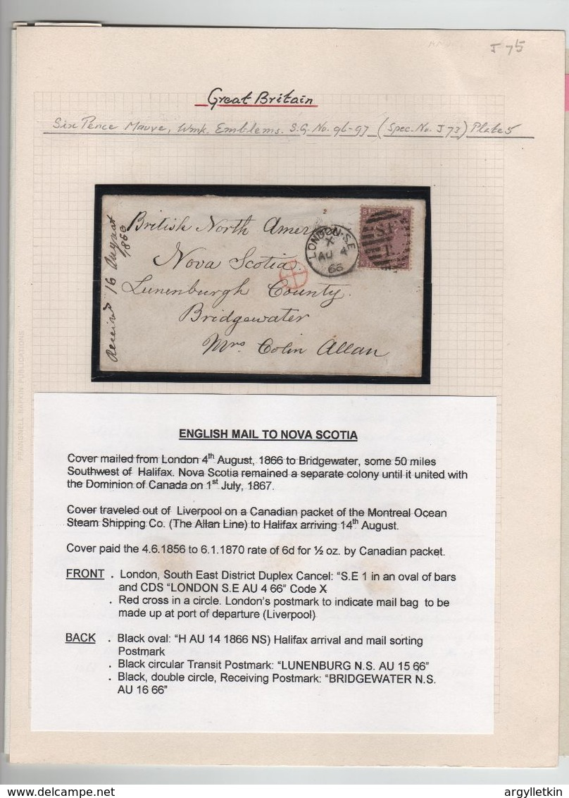 GREAT BRITAIN 1866 NOVA SCOTIA MONTREAL LINE BRIDGEWATER LUNENBURG - Stamped Stationery, Airletters & Aerogrammes