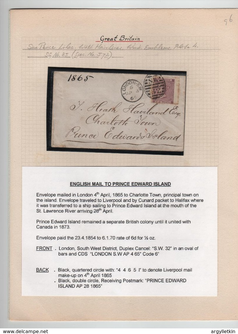 GREAT BRITAIN PRINCE EDWARD ISLAND CANADA 1865 1871 - Stamped Stationery, Airletters & Aerogrammes