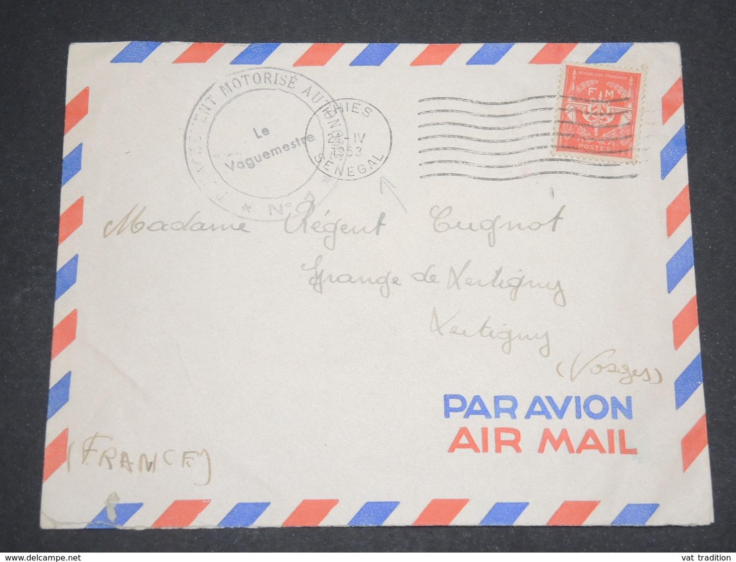 FRANCE - Enveloppe De Thiers ( Sénégal ) En FM En 1953 Pour La France , Affranchissement Timbre FM - L 13044 - Marcophilie (Lettres)