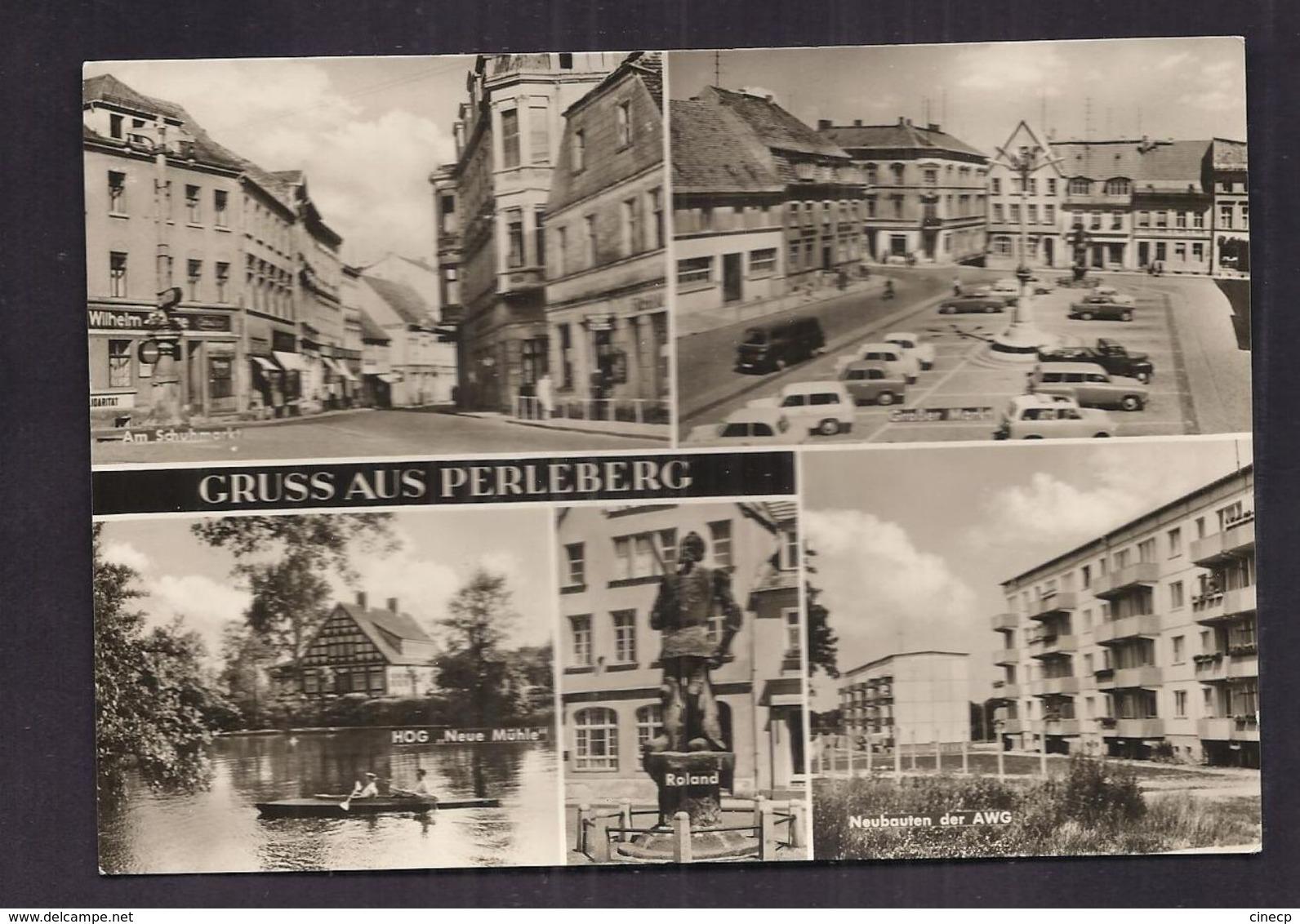 CPSM ALLEMAGNE - PERLEBERG - GRUSS AUS - TB CP Multivue Dont Am Schumarkt , Grosser Markt , Neubauten Der AWG , Etc.... - Perleberg
