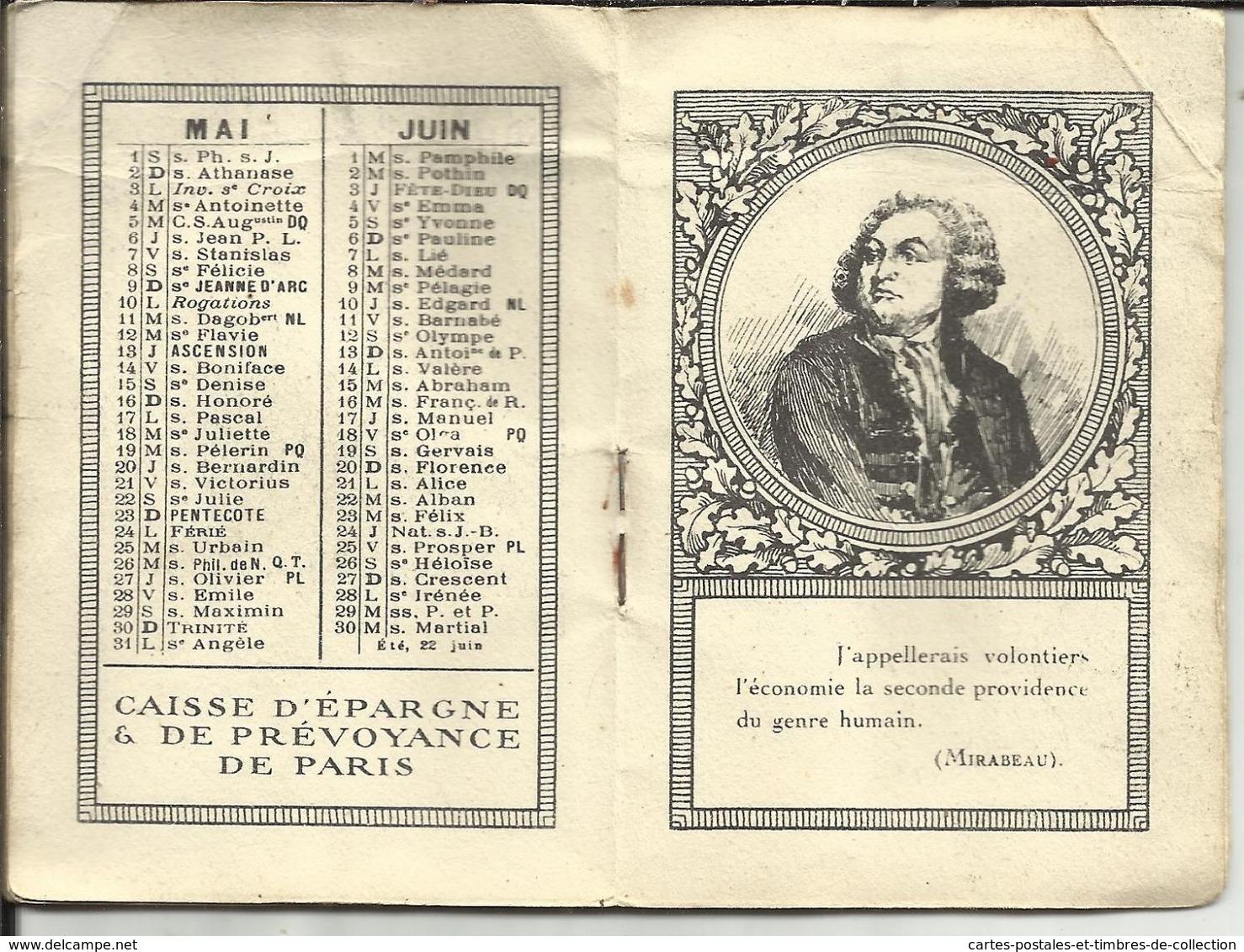 CALENDRIER DE POCHE 1926 , De La CAISSE D'EPARGNE & DE PREVOYANCE DE PARIS - Kalenders