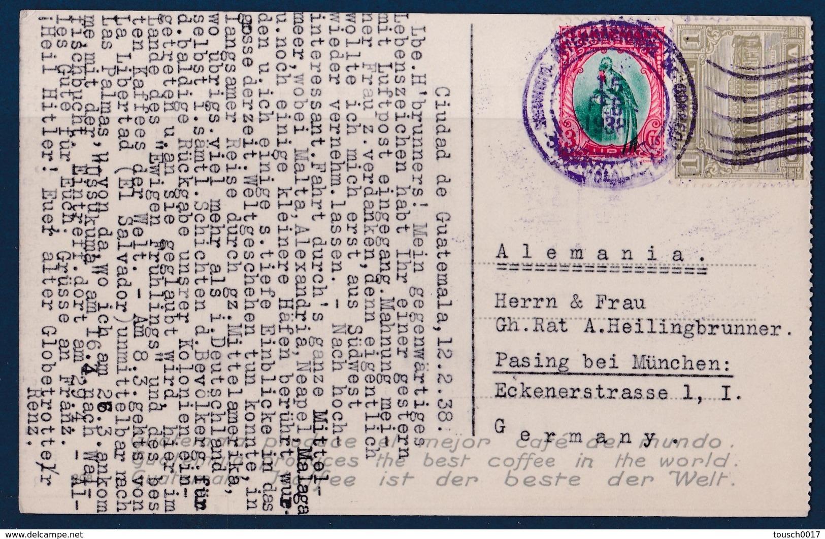 Carte Postale Postkarte 1938 Guatemala Nach Pasing Bei München - Guatemala