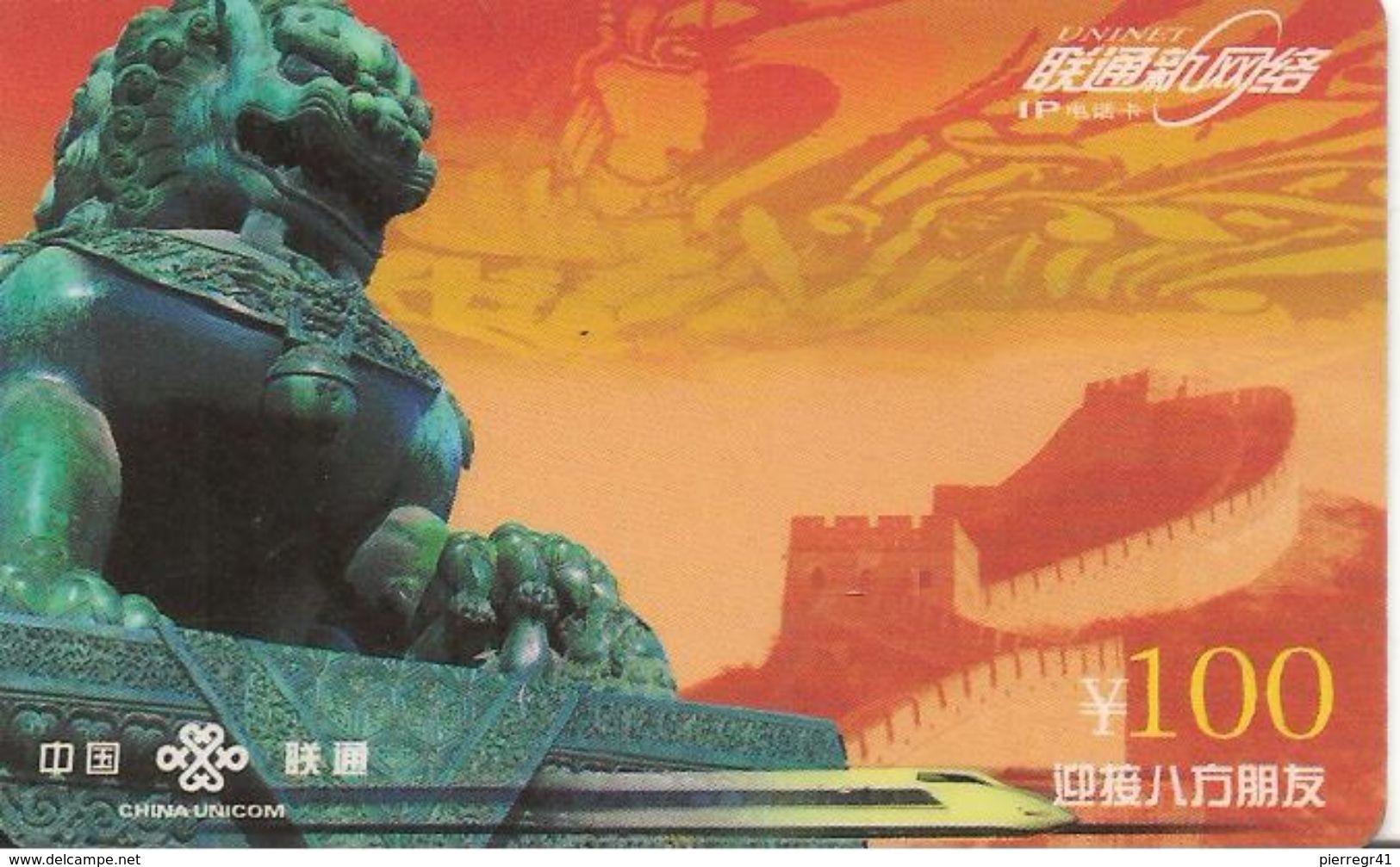 CARTE -PREPAYEE-CHINE-CHINA UNICOM-100Y -2001-La MURAILLE-TBE - Chine