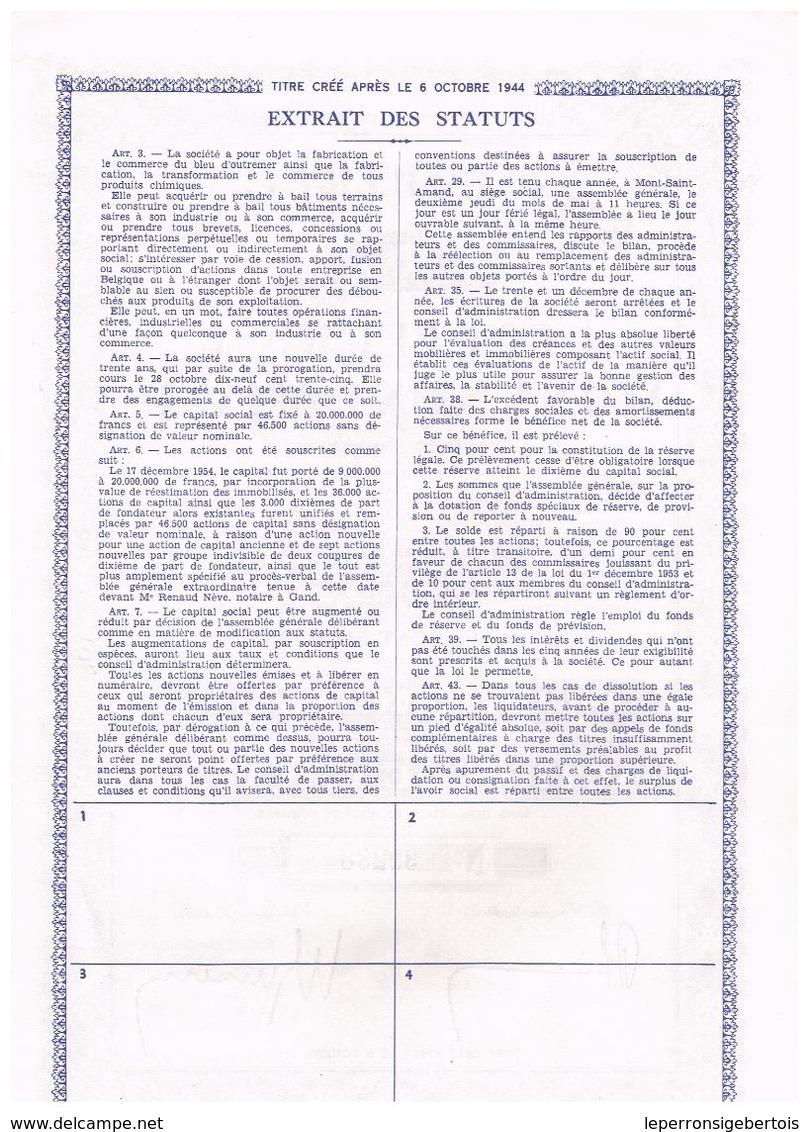 Action Ancienne - Bleu D' Outremer Et Couleurs De Mont-Saint-Amand - Titre De 1955 - - Industrie