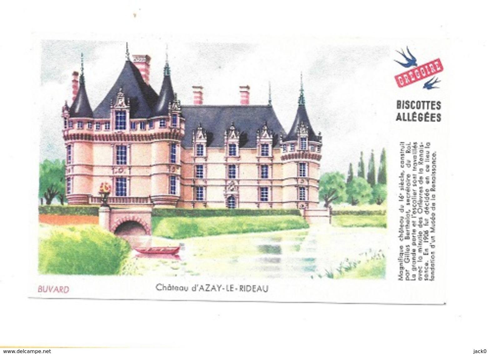 Buvard  Ville, Marque  Alimentaire  Biscottes  GREGOIRE  Château  D' AZAY - LE - RIDEAU  ( 37 ) - Buvards, Protège-cahiers Illustrés