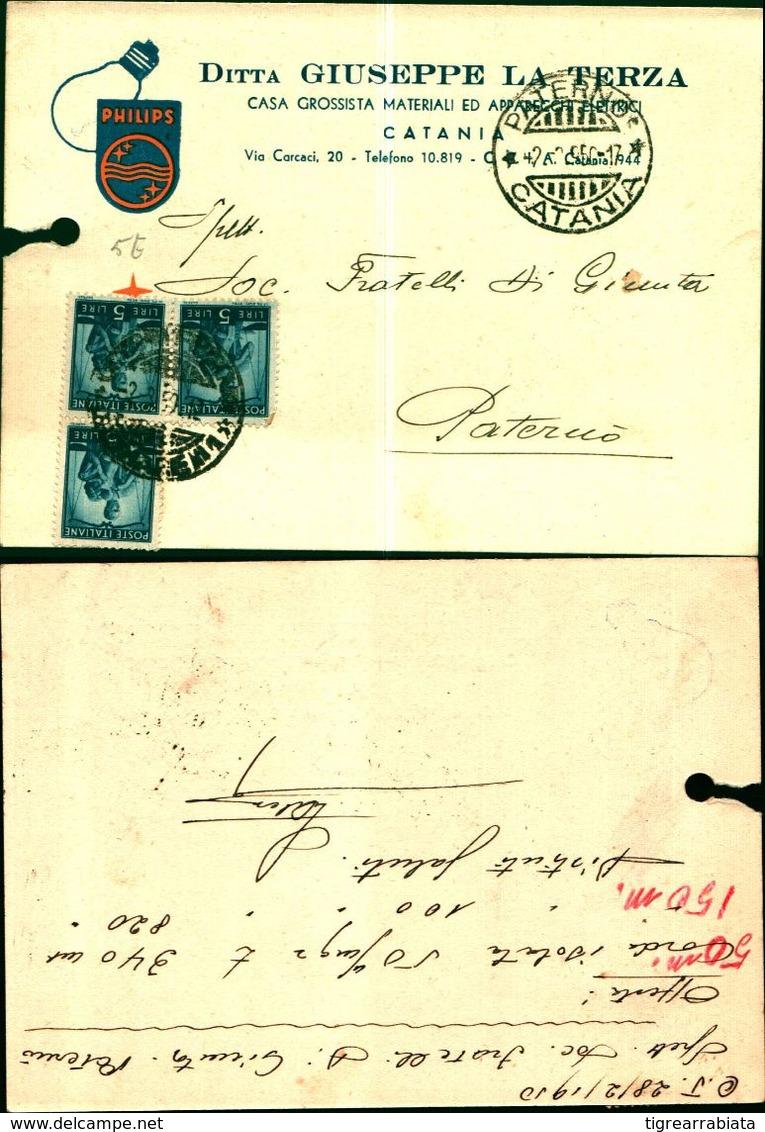 8263a) Foglietto  Con Intestazione Aziendale Da  Monza  X Paterno' Catania Con 1v.da  15lire Democratica  30-1-50 - 6. 1946-.. Repubblica