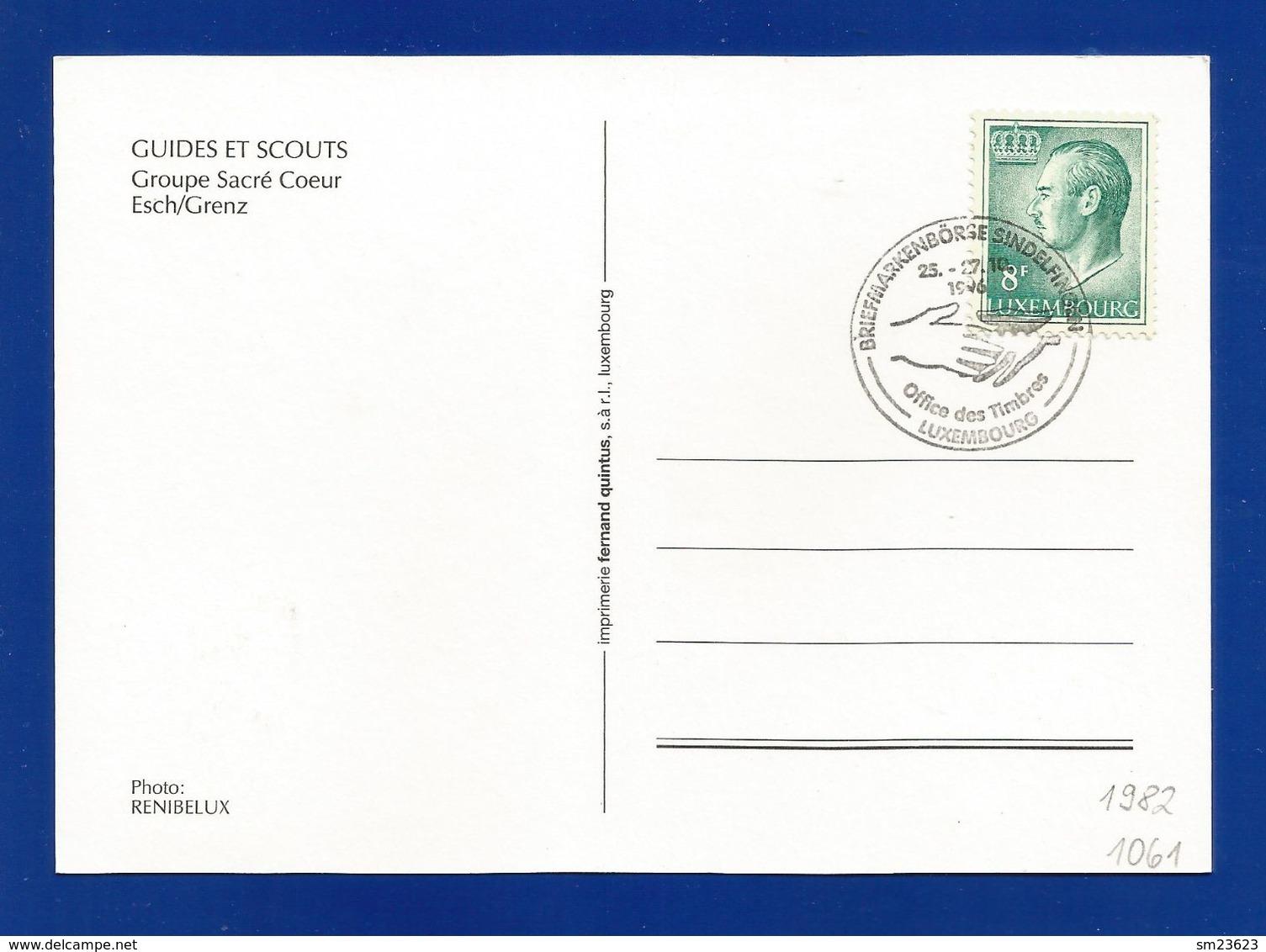 Luxemburg 1982  Mi.Nr. 1061 , Guides Et Scouts - Groupe Sacre Coeur Esch/Grenz - Maximum Card - S Stempel 25.-27.10.1996 - Cartes Maximum